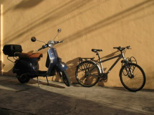 My commuters an Italian PX200E and a Giant Tourer