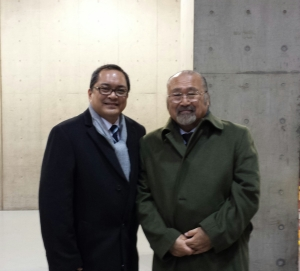 "Me with JKC Judge Hiroshi ""Harry San""  Kamisato when I judged the JKC FCI ."